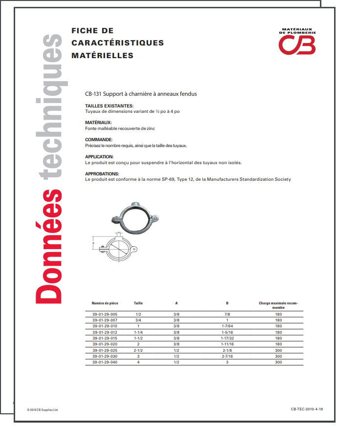 French TechData Sheet - CB131