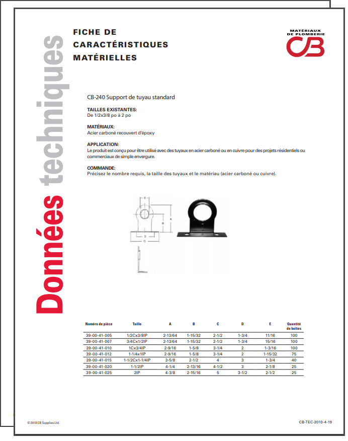 French TechData Sheet - CB240