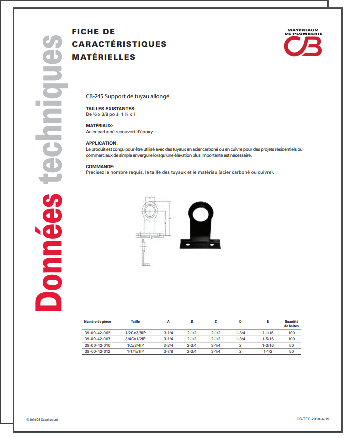 French TechData Sheet - CB245