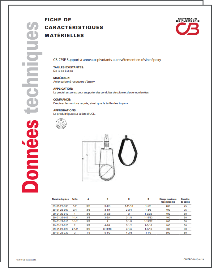 French TechData Sheet - CB275E